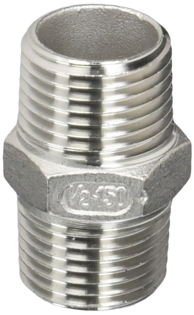 Pack of 5 1//2 x 1//2 NPT Male Pipe Anderson Metals 56122-08 Brass Pipe Fitting Hex Nipple