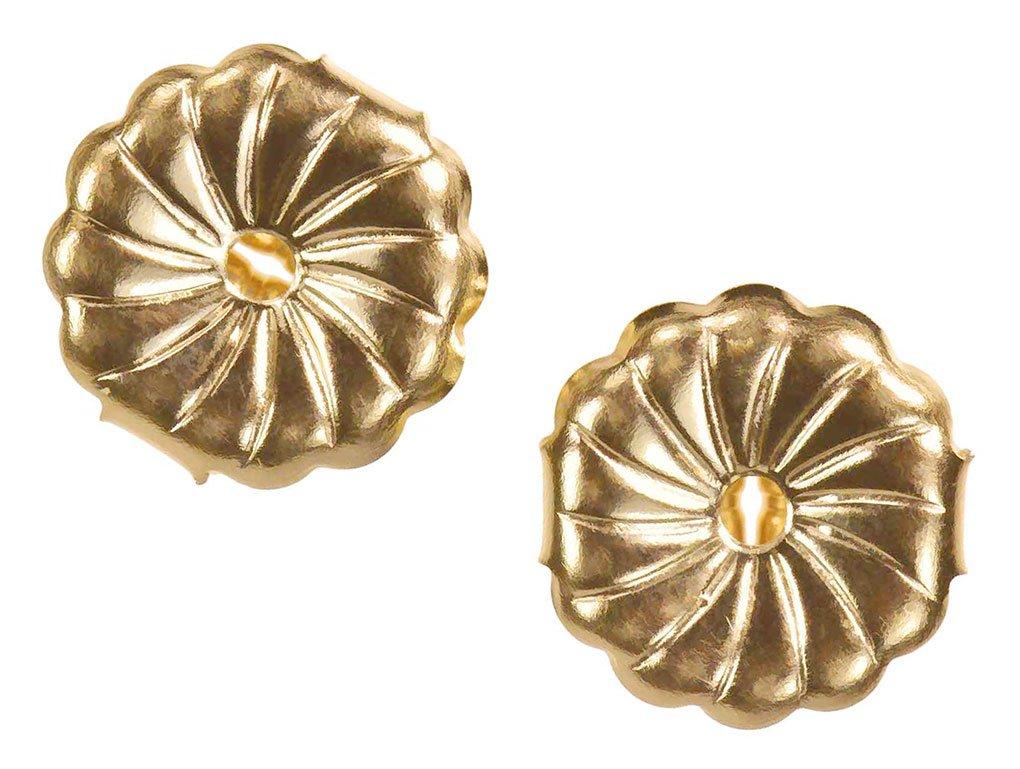 Solid 14K Yellow Gold Earring Backs Large Premium Swirl 7mm (1 Pair)