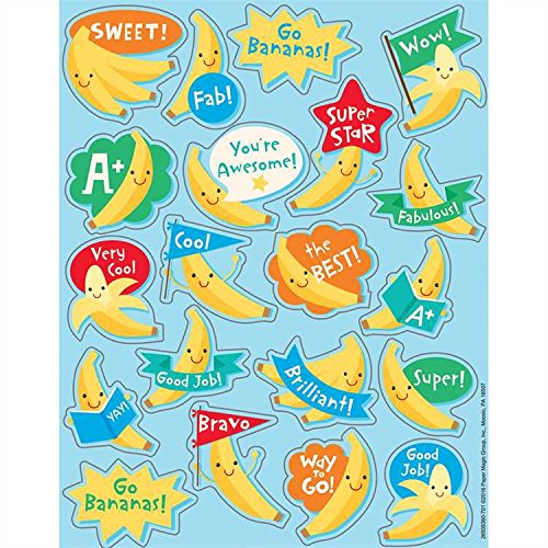 - 160 BANANA Fruit Scented Stickers - 8 Sheets of 20 -Motivational Rewards EDUCATION Classroom Party Favors Teacher