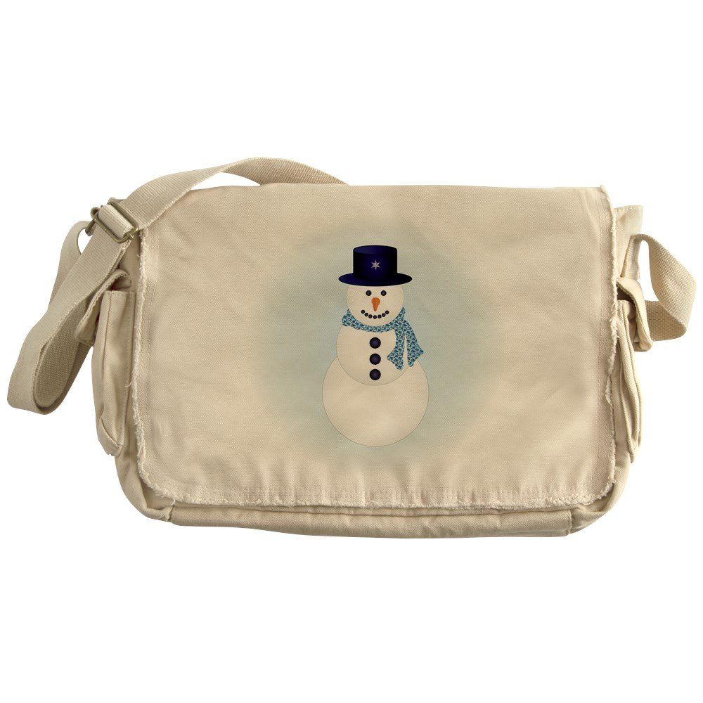 Truly Teague Khaki Messenger Bag Snowman with Winter Blue Aura