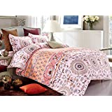 3 Piece Duvet Cover and Pillow Shams Set, Soft Microfiber Boho Bohemian Mandala Design (Queen Size)