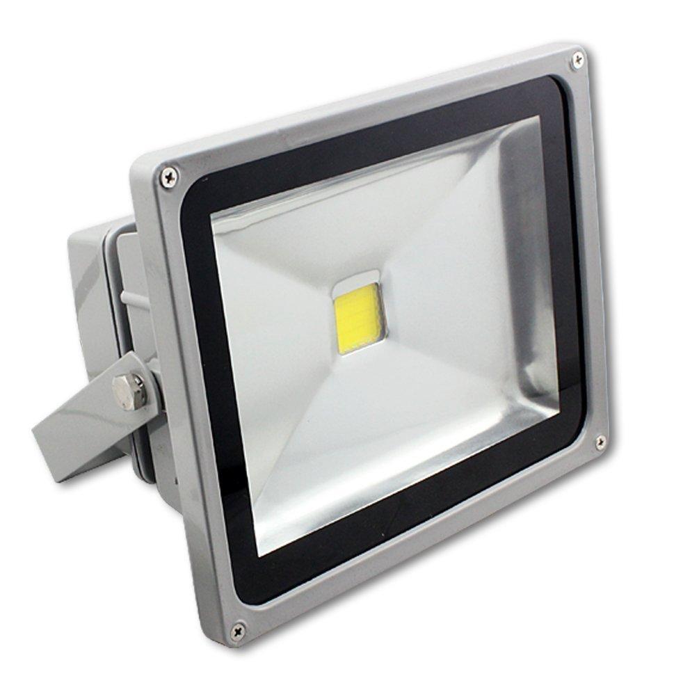 MCTECH Grau 50W Led Fluter Kaitweiß 6000~6500K LED Fluter Lampe Strahler Scheinwerfer Licht Wasserdicht IP65 4500-5000 Lumen 230V Aluminium (Kaitweiß) [Energieklasse A++]