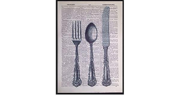 Imagen de impresión de página de diccionario Vintage cubiertos cuchillo tenedor cocina Shabby Chic arte: Amazon.es: Hogar