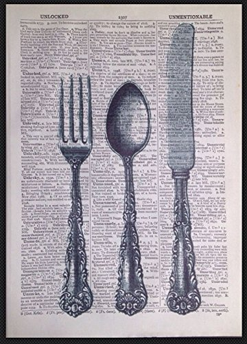 Imagen de impresión de página de diccionario Vintage cubiertos cuchillo tenedor cocina Shabby Chic arte
