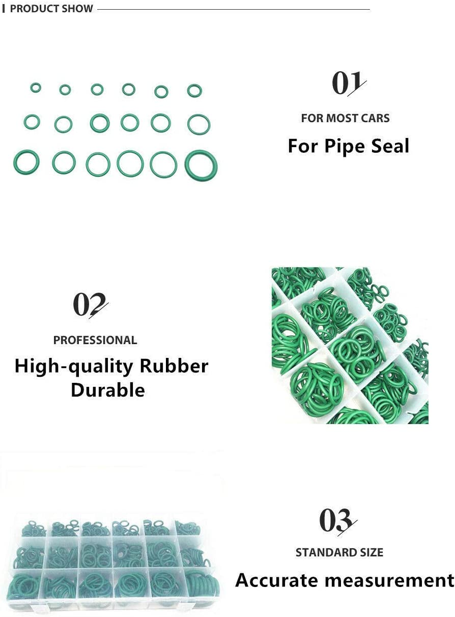 Home Appliances Roller Auto Pump 1 Set 530 Pieces Car Air Conditioning O-ring Sealing Gasket Washers Assortment Kit Green Rubber 18 Kinds Size Portable Boxed for Electric Appliance Bearing