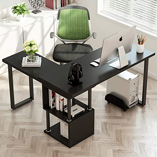 MTFY L-Shaped Desk with 2 Shelves,PC Laptop Study Table Workstation Home Office,Black Type-2