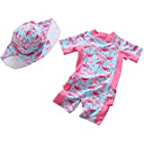 Kids Short Sleeve Flamingo One Piece Swimsuit Toddlers Baby Girls Rash Guard Sun Protection Bathing Suit with Hat UPF 50+