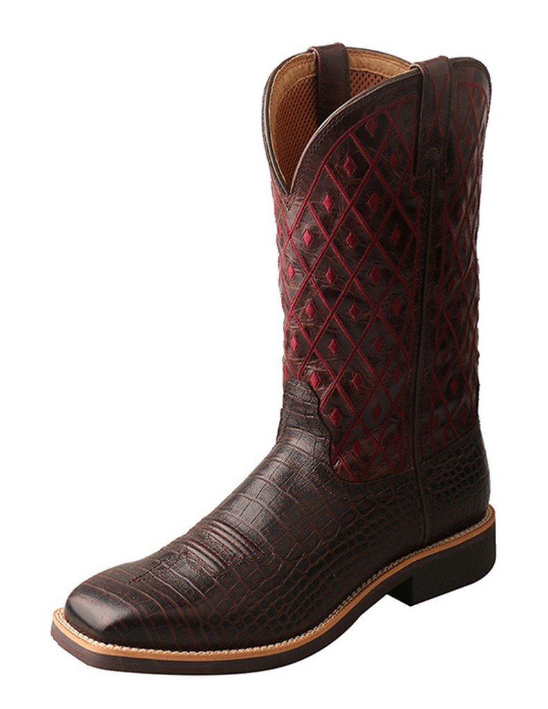 Twisted X Women's Top Hand Caiman Print Cowgirl Boot Square Toe Dark Brown 7 M