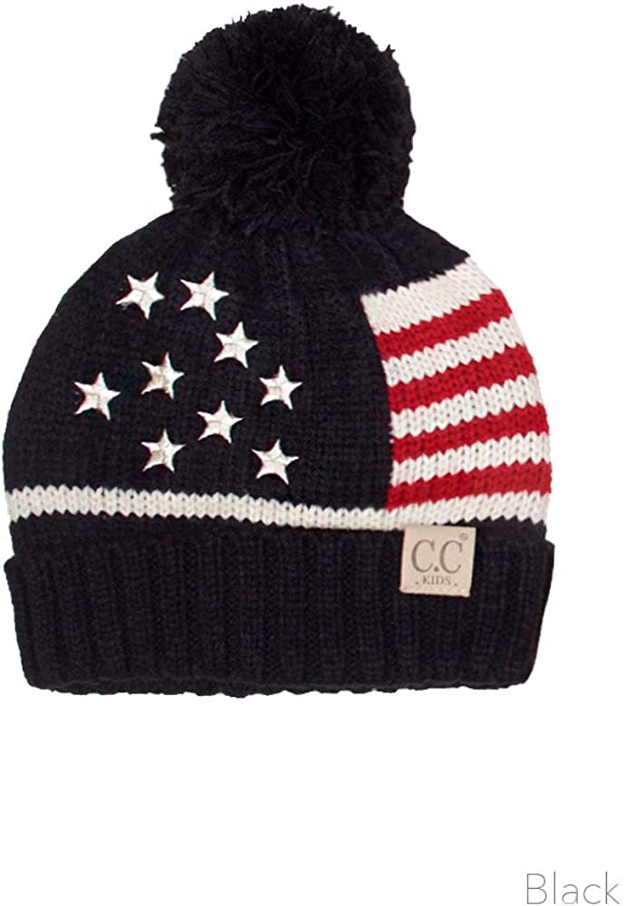 ScarvesMe Toddler Children Kids Girl Boy American Flag USA Patriotic Knit Hat