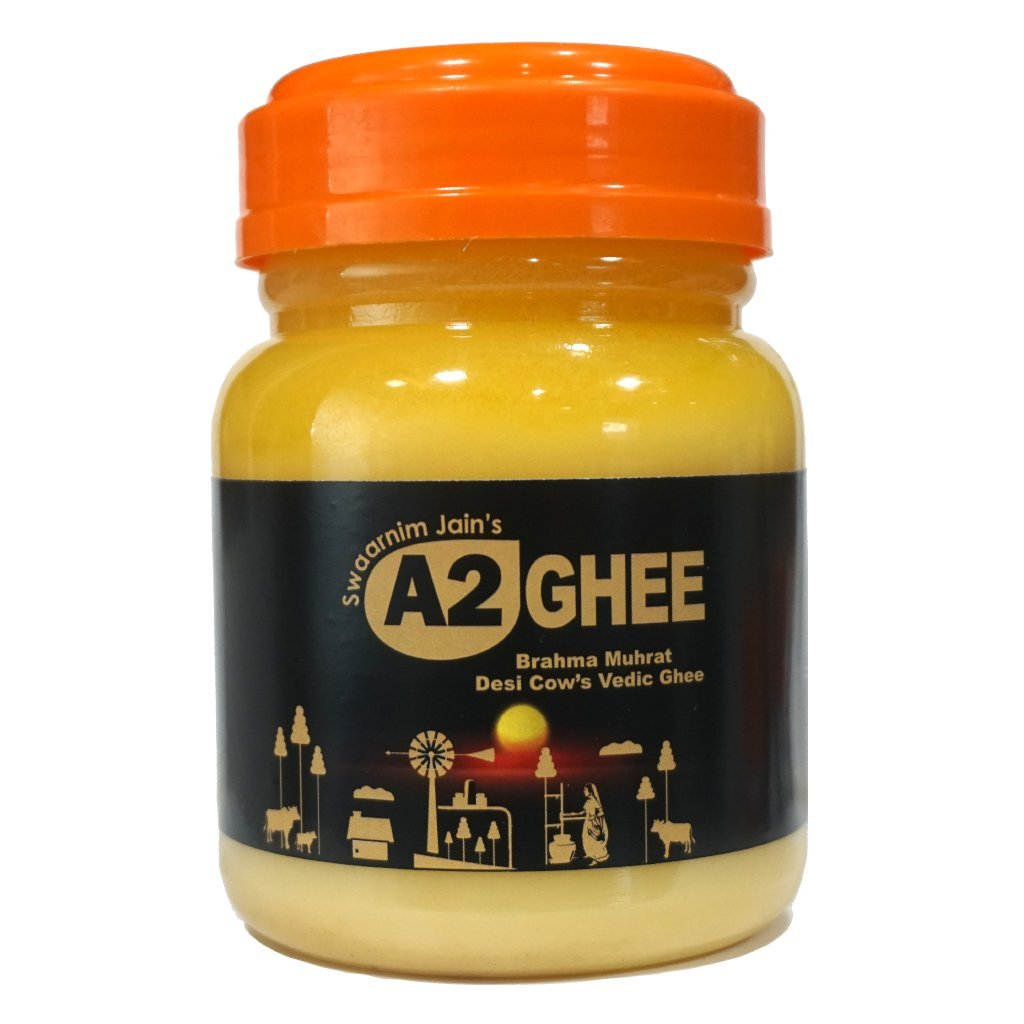 Ghee Butter - Swaarnim Jains' A2 Brahma Muhurta Ghee 500ml - Probiotic Properties - 0% Trans Fat - Grass-Fed - Non-GMO - Made in Brahma Muhurta - Pure & Purifying