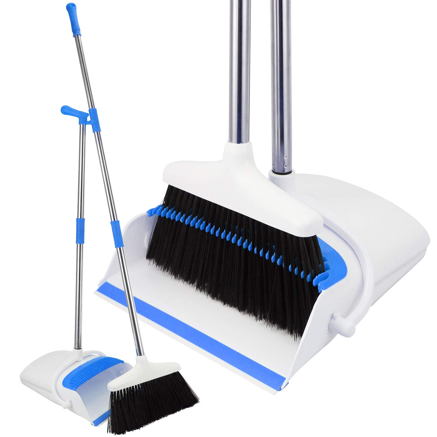 Broom and Dustpan Set - Strongest 30% Heavier Duty - Upright Standing Dust Pan with Extendable Broomstick for Easy Sweeping - Easy Assembly Great Use for Home, Office, Kitchen, Lobby Etc.- by Kray by Kray