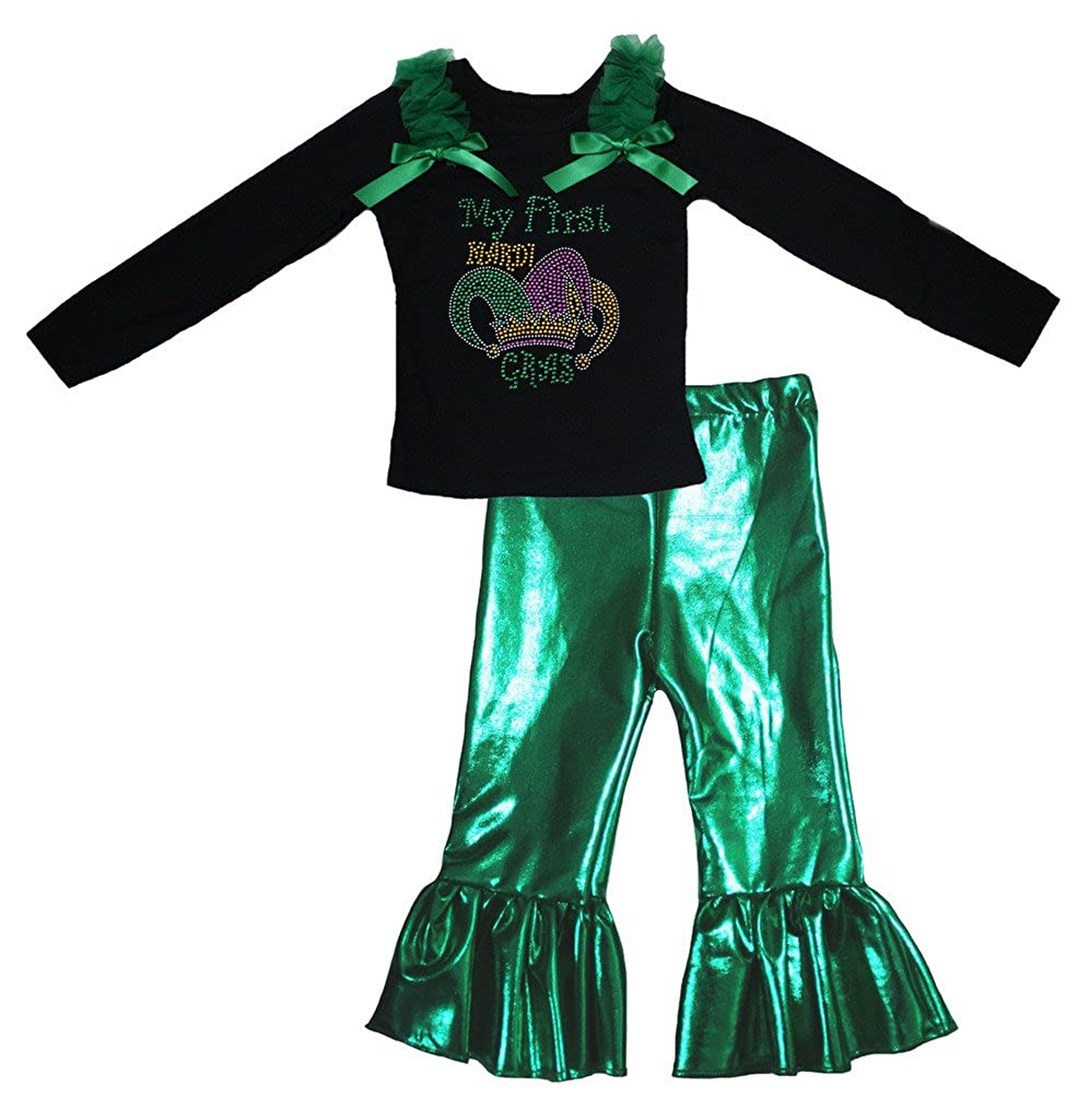 Petitebella My First Mardi Gras Black L//s Shirt Green Pant Set for Girl 1-8y