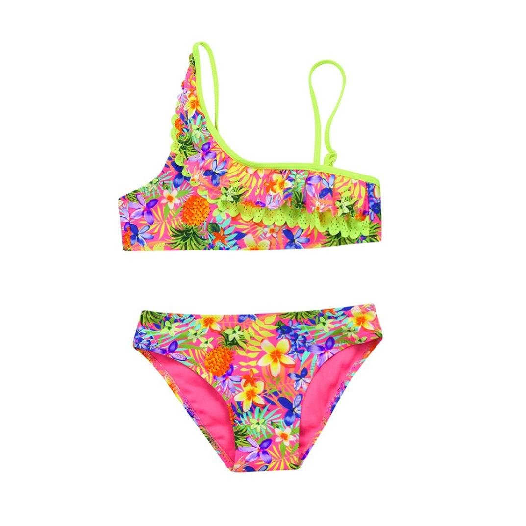 2PCS Kids Girls Floral Pineapple Print Ruched Swimwear Swimsuit Bikini Outfits 1-5T