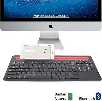 GMYLE® Bluetooth Teclado Con acoplamiento y Touch Pad para ordenadores, tablets y smartphones (negro y rojo, US Layout)