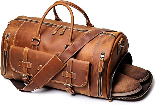 Leathfocus Leather Travel Duffel Bags, Mens Carry on Bag Leather Weekend Bag Full Grain Overnight Luggage Ykk Zipper Brown