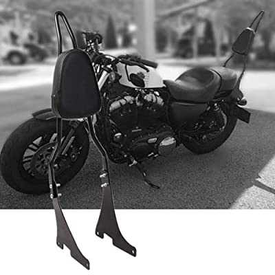 Motorcycle Rear Passenger Backrest with Detachable Sissy Bar PU Cushion Pad Fits for Harley Sportster XL883 XL1200 04-UP: Automotive