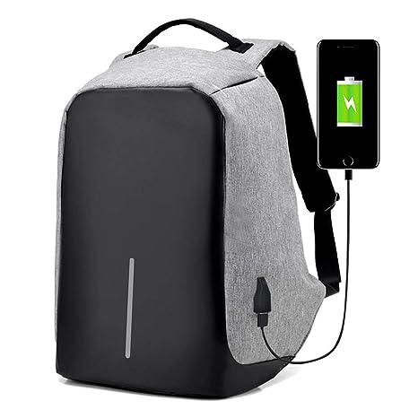 WUZHI Mochilas para Portátiles con Puerto De Carga USB Portátil Antirrobo Bolsas para Laptop Se Ajusta