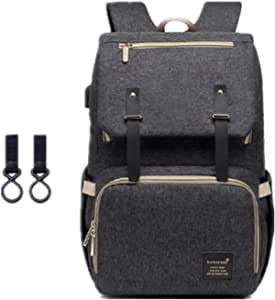 Diaper Bag Backpack, Mastery Baby Maternity Nappy Changing Bags Multifunction Waterproof Travel Back Pack with Stroller Straps, Unisex and Stylish (Black)
