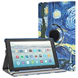 MoKo Case for All-New Amazon Fire HD 10 Tablet (7th Generation, 2017 Release) - 360 Degree Rotating Swivel Stand Cover with Auto Wake / Sleep for Fire HD 10.1 Inch Tablet, Starry Night
