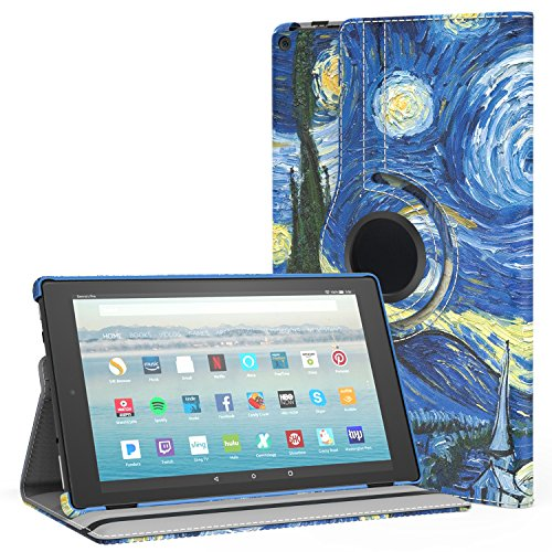 MoKo Case for All-New Amazon Fire HD 10 Tablet (7th Generation, 2017 Release) - 360 Degree Rotating Swivel Stand Cover with Auto Wake/Sleep for Fire HD 10.1 Inch Tablet, Starry Night
