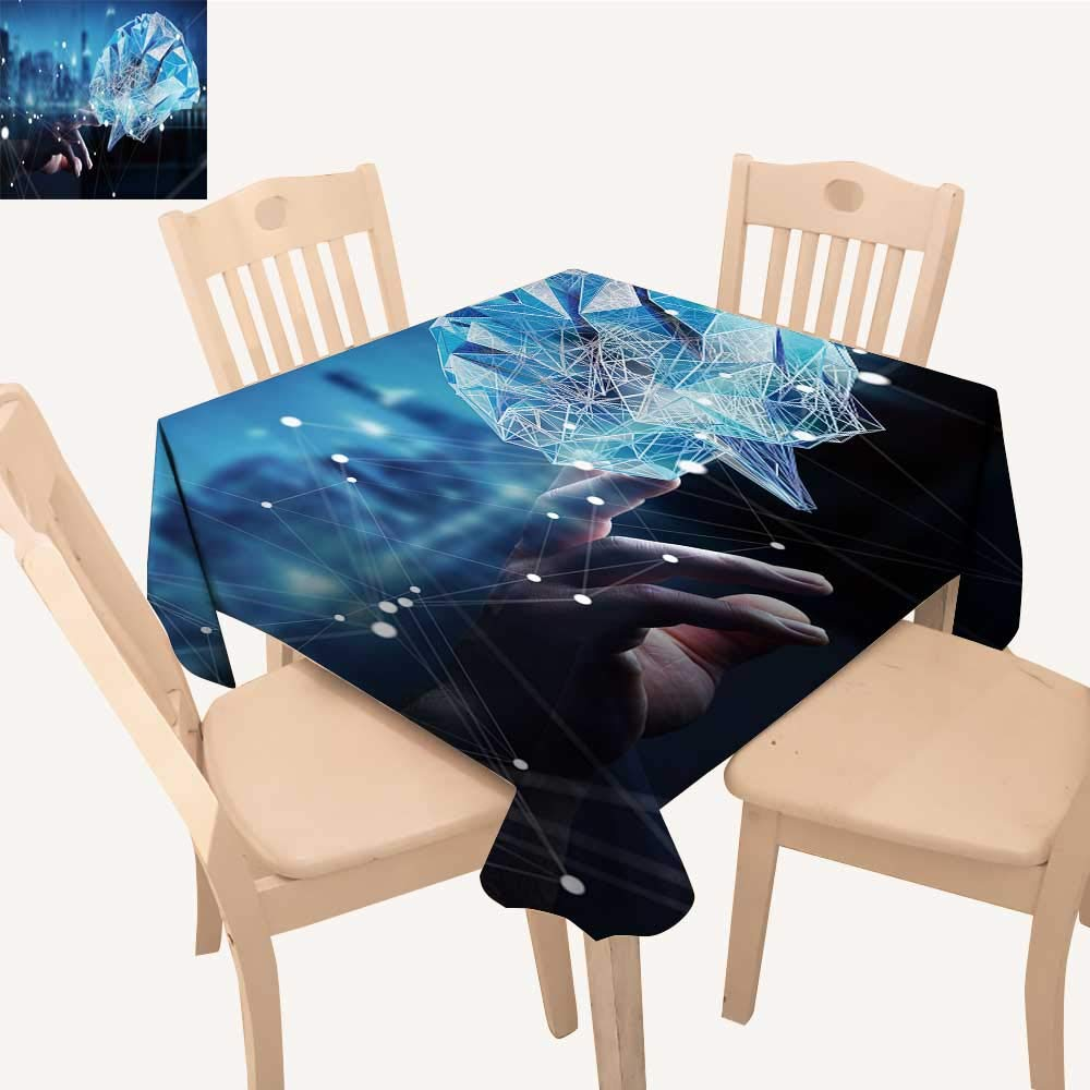 UHOO2018 Decorative Tablecloth Touch Digital hu Brain Cell Neurons Activity Square/Rectangle Kitchen Tablecloth Picnic Cloth,23 x 23inch