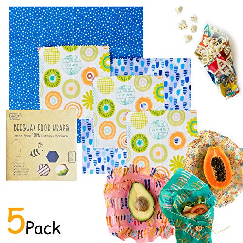 Organic Reusable Beeswax Food Wrap - 5 Piece Assorted Size Variety Pack - Great For Storing Sandwiches And Vegetables - BPA, PVC, Chemical Free - Bees Paper Wrap Sustainable Food Storage