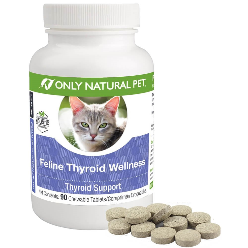 Only Natural Pet Thyroid Support Supplement Holistic Wellness for Cats - 90 Turkey Flavored Chewable Tablets by Only Natural Pet
