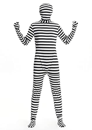 Amazoncom Yujuan Halloween Black And White Stripes Prison Cosplay