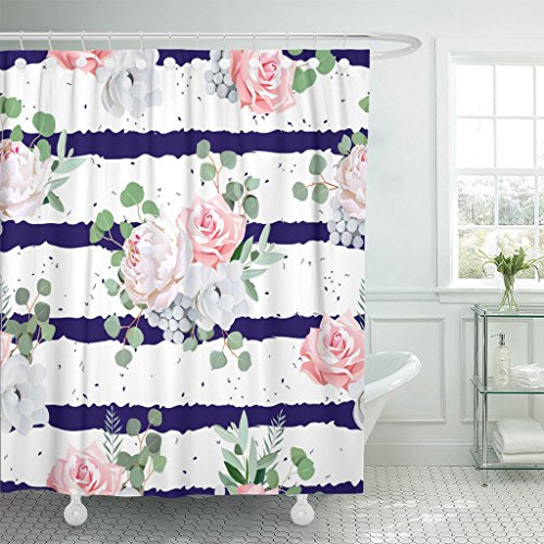 (Emvency Shower Curtain Navy Striped Bouquets Rose Peony Anemone Brunia Flowers Eucalyptus Leaves Pattern Speckled Waterproof Polyester Fabric 72 x 72 inches Set Hooks)