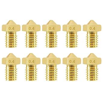 3D Printer Extruders Accessories 10pcs 0.4mm 3D Printer Nozzles Kit E3D Brass Nozzle Extruder Nozzle Print Head 3D Printer Brass Nozzles with Nozzle Cleaner Tool