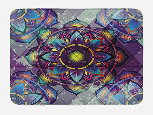 Ambesonne Lotus Bath Mat, Psychedelic Surreal Sacred Geometry