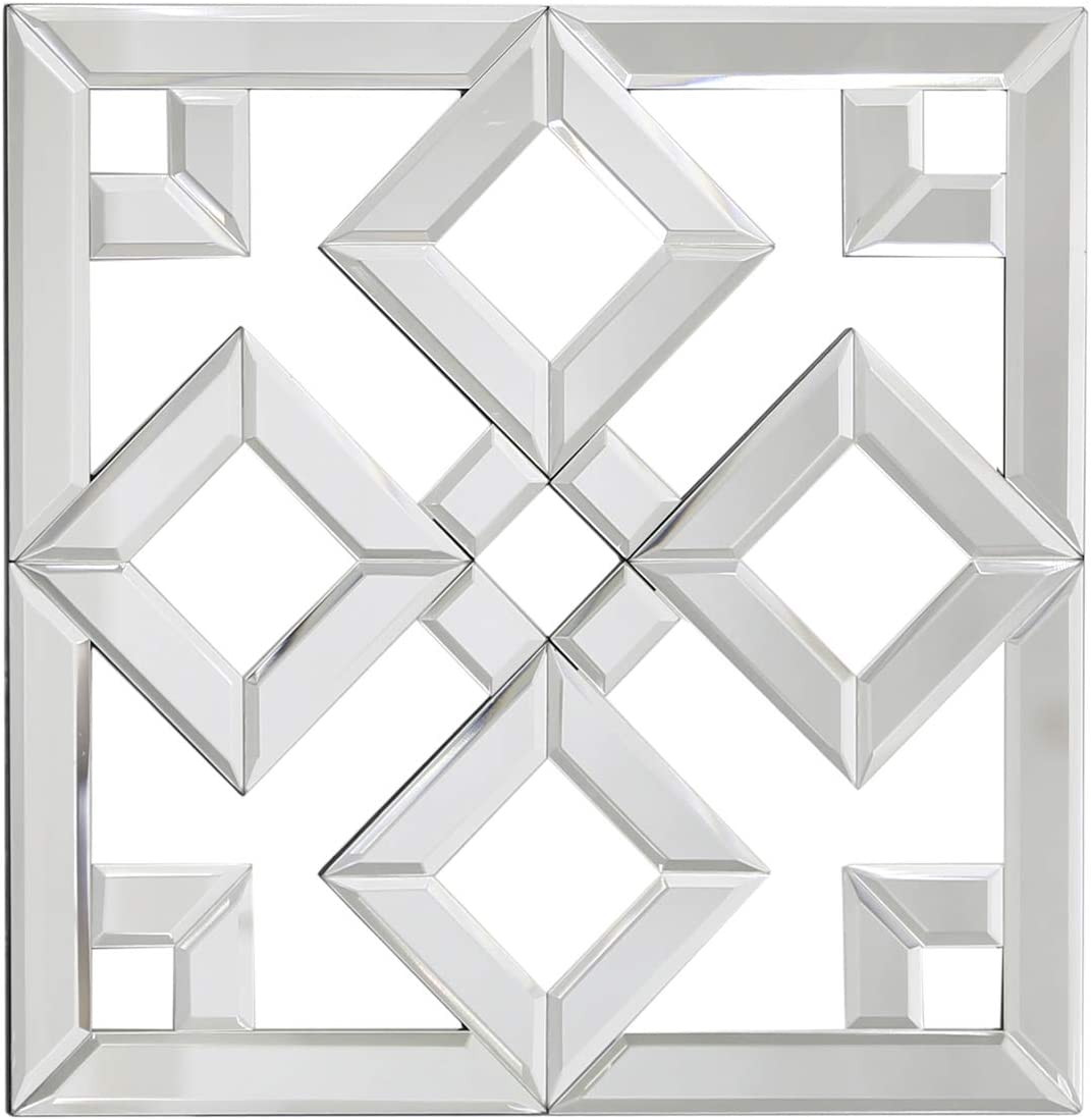 Maisonica Geo Mirror Glass Wall Art Decoration Mirrored Geometric Decor 40 Cm Square Amazon Co Uk Kitchen Home