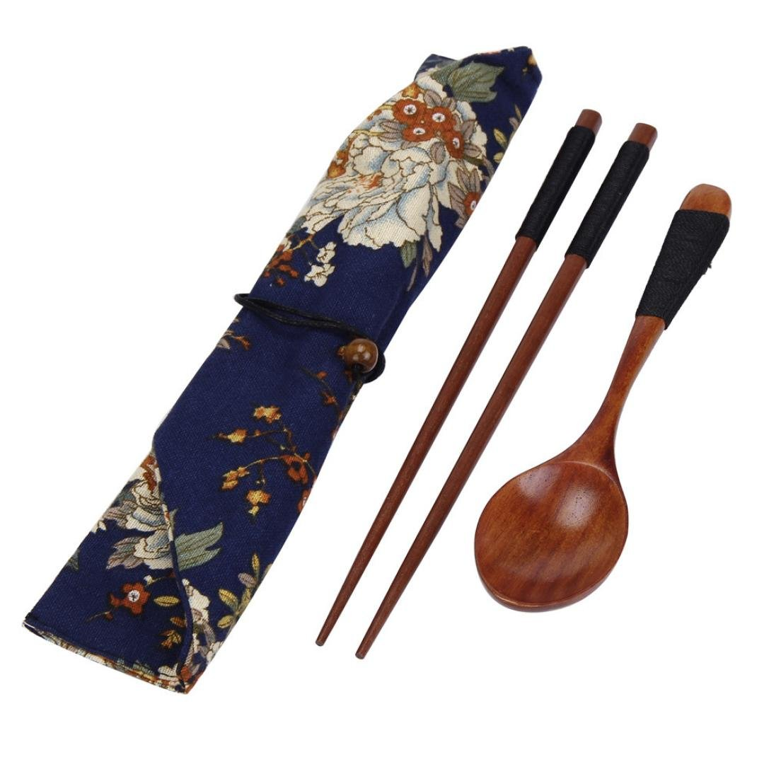 Chopsticks,Clode® 1 Set Portable Wooden Chopsticks Spoon Tableware Set Vintage + Blue Bag (style 1)