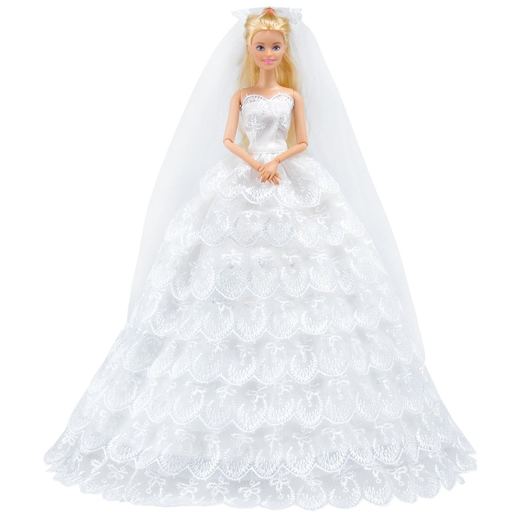 Amazon Eting White Gorgeous Long Wedding Dress Princess Gown Clothes With Veil For Girl Dolls Toys Games: Vintage 1960s Barbie Doll Wedding Dresses At Reisefeber.org