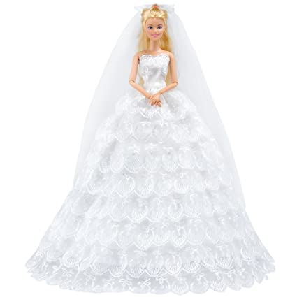 a5e349bec82f0 E-TING White Gorgeous Long Wedding Dress Princess Gown Clothes with Veil  for Girl Dolls