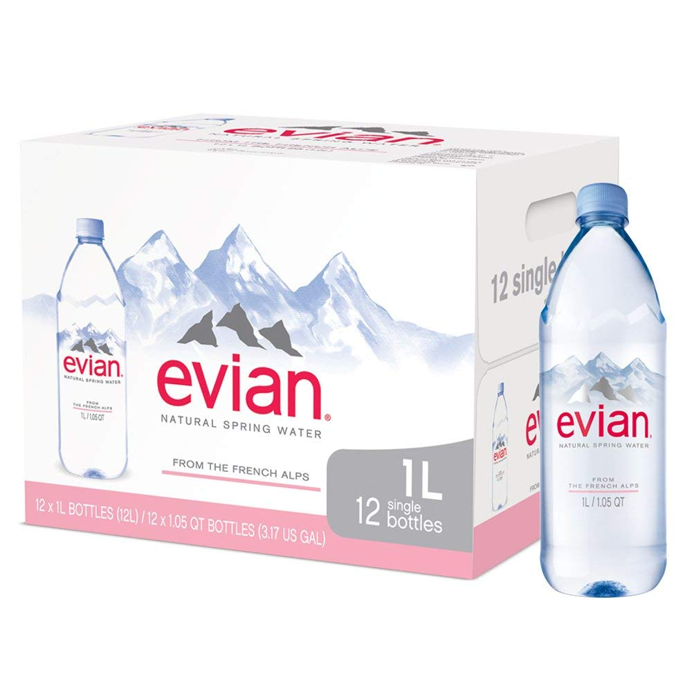 evian bgtr Natural Spring Water (One Case of 12 Individual Bottles, Each Bottle is 1 Liter) Naturally Filtered Spring Water in Large Bottles 4 Cases (48 Count) by evian (Image #1)