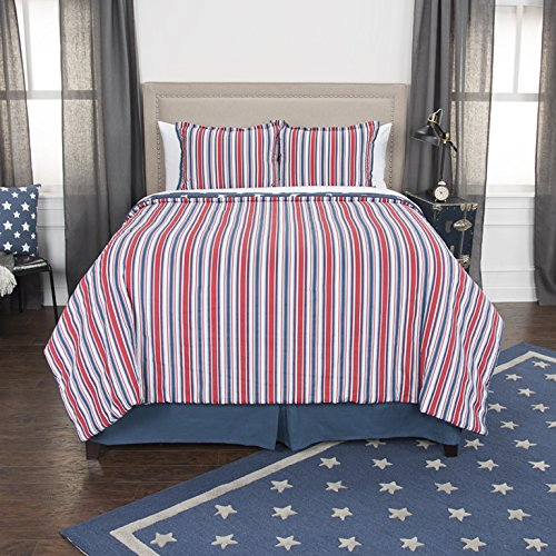 Rizzy Home Andrew Charles Collection 3 Piece Cotton Comforter Americana Bedding Set, Queen, Red/White/Indigo