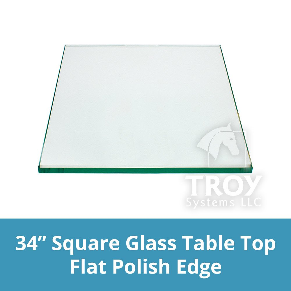 Square Glass Table Top 34 Inch Custom Annealed Clear Tempered, ¼'' Thick Glass with Flat Polished Edge & Radius Corner for Dining Table, Coffee Table, Home & Office Use by TroySys