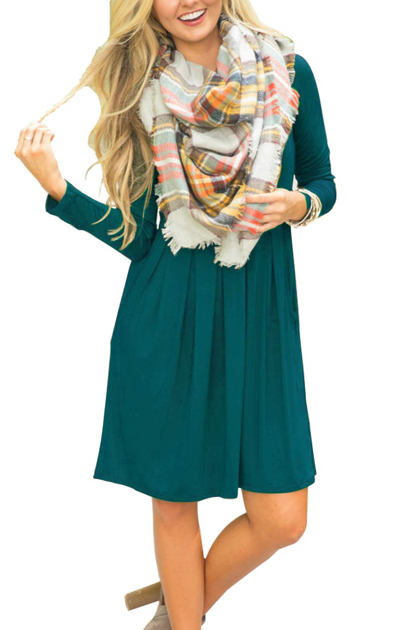 acaa1c820578 AUSELILY Women's Long Sleeve Pleated Loose Swing Casual Dress with Pockets  Knee Length (M, Dark Green) < Casual < Clothing, Shoes & Jewelry - tibs