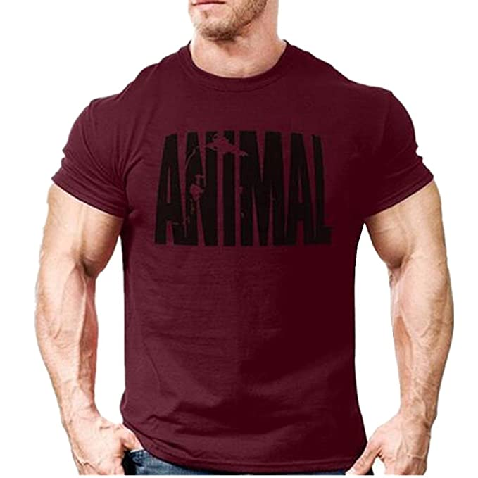 daf1a2e82459 Image Unavailable. Image not available for. Color: YeeHoo Men Gym Fitness  Wear Classic Workout Animal T-Shirt ...
