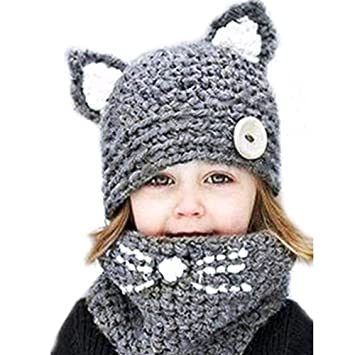 Girls Boys Winter Beanie Warm Hat Cat Ear Earflap Baby Toddler Scarf and Cap Set