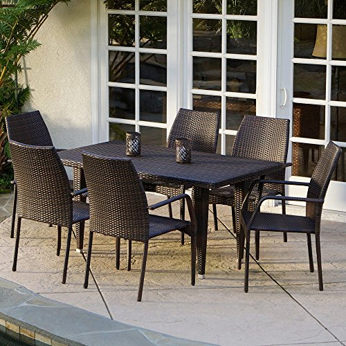 Canoga All-Weather Wicker Patio Dining Set - Seats 6 -  Christopher Knight Home, 238195