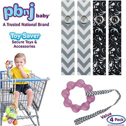 Best Price PBnJ baby Toy Saver Strap Holder Leash Secure Accessories Gray Chevron/Black Paisley - 4p...
