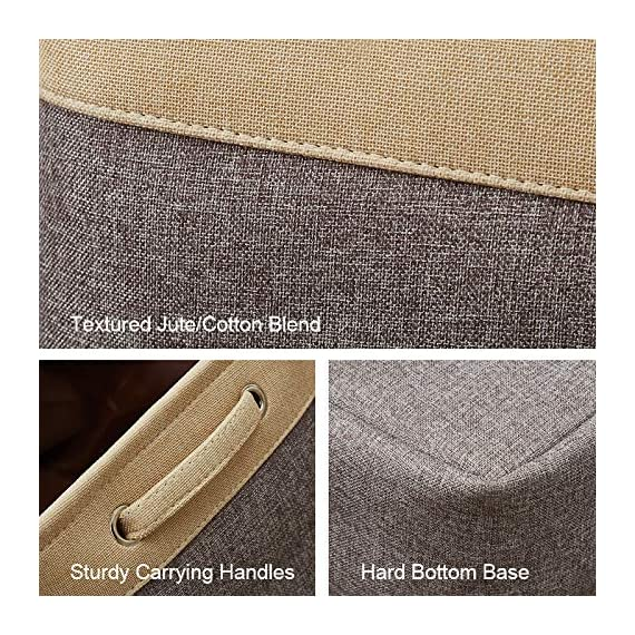 """DECOMOMO Extra Large Foldable Storage Bin [3-Pack] Collapsible Sturdy Cationic Fabric Storage Basket Cube W/Handles for Organizing Shelf Nursery Home Closet & Office - Grey & Beige 15.8 x 12.5 x 10"""" - Organize and Declutter - DECOMOMO's Foldable Storage Bins makes things easy to find. Utilize to organize and store children's toys, books and magazines, files, laundry, supplies and much more! Fashionable and Robust - Matches interior Décor of any household or office. Cleverly label each bin with the provided string and tag with our DIY kit. Personalize your bin with a style that matches any Décor! Rugged, Durable and Sturdy - Storage bin made of attractive canvas with interior lining. Solid hard inner base to help with Structure and Stability. Sewn in handles makes it easy to slide in and pull out from shelves, sectionals, closets, or the office. New version with added base support to make the bins more firm! The Perfect organizational tool. - living-room-decor, living-room, baskets-storage - 61ziXTfcm1L. SS570  -"""