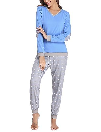 ab9da0c60d Hawiton Women Pyjamas Set Loungewear Full Length Top   Bottoms Sleepwear  Cotton PJ s Set Jogging Long