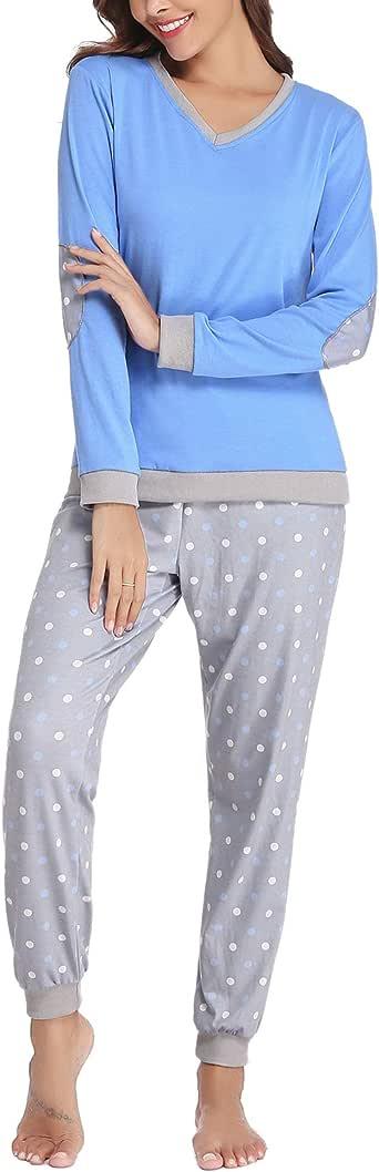 Hawiton Pijama Invierno Mujer Algodon Mangas Larga Pantalon Largo 2 Piezas Talla Grande: Amazon.es: Ropa y accesorios