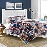 Nautica 204966 Blaine Cotton Reversible Quilt, King, Blue/Red
