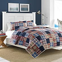 Nautica 204966 Blaine Cotton Reversible Quilt, King, Blue/Red