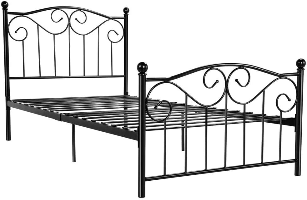 Yaheetech Kids Adults Metal Bed Frame Twin Size with Headboard and Footboard Mattress Foundation- Easy to Put Together Black