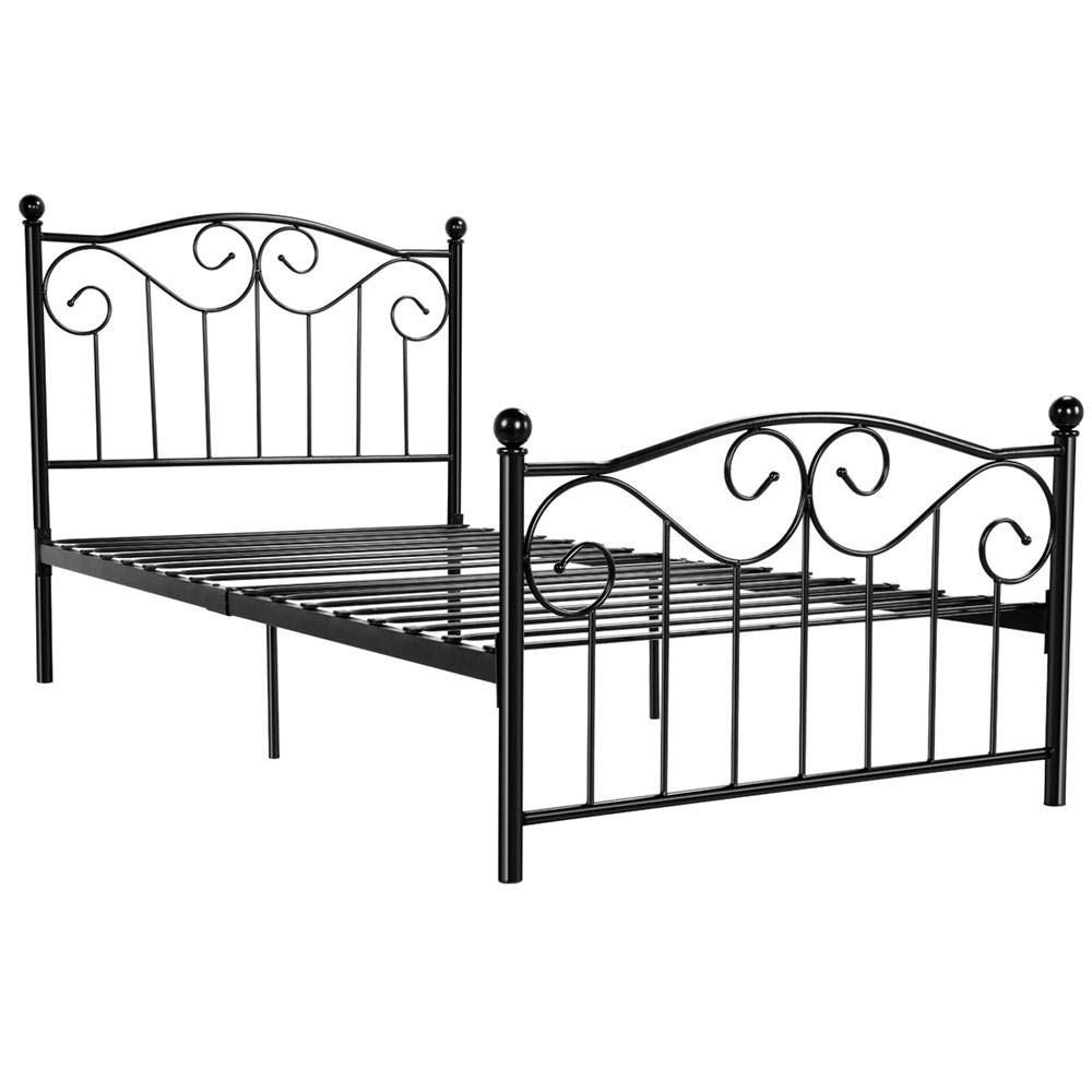 Yaheetech Kids Adults Metal Bed Frame Twin Size with Headboard and Footboard Mattress Foundation- Easy to Put Together Black by Yaheetech
